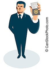 secret-agent-standing-show-id-badge - vector illustration of...