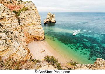 Secret beach on ALgarve coast in Portugal