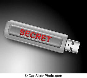 Secret concept. - Illustration depicting a usb flash drive...