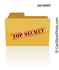 Secret document folder with top secret printed on face. ...