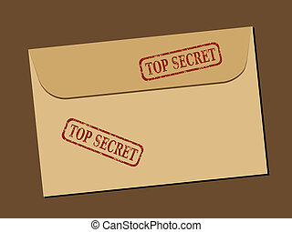 Top secret document in envelope. Rubber stamp - grungy illustration with text Top Secret.