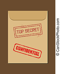 Secret documents - Top secret document in envelope. Rubber ...
