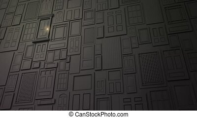 High definition animation of a wall of doors with one special door opening to bright light.
