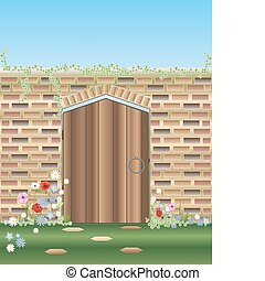 an illustration of a garden gateway with walls and wooden door surrounded by flowerts under a blue summer sky