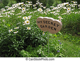 Secret Garden - secret garden sign surrounded by daisies and...