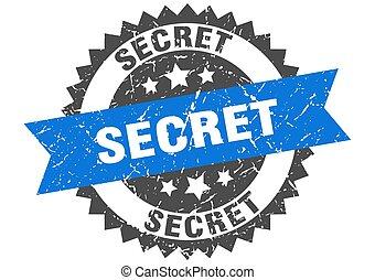secret grunge stamp with blue band. secret