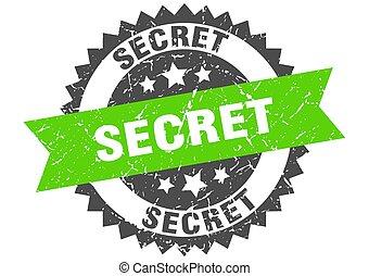 secret grunge stamp with green band. secret