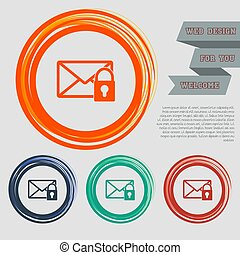 Secret mail icon on the red, blue, green, orange buttons for your website and design with space text. Vector
