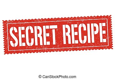 Secret recipe grunge rubber stamp on white background,...