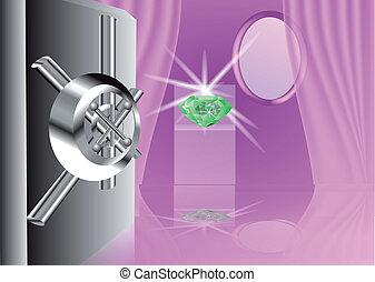 secret room. gemstone in the safe