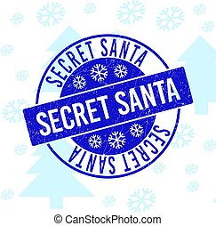 Secret Santa Grunge Round Stamp Seal for New Year