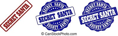 SECRET SANTA Scratched Stamp Seals