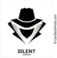 Mysterious man in black suit with the mask on white background.