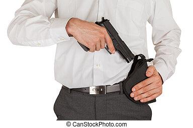 Secret service agent with a gun