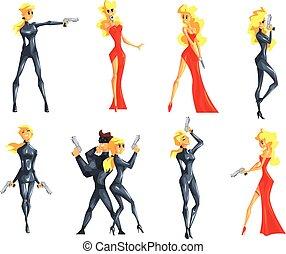 Secret Service Female Agent Undercover. Sexy Blond Woman...