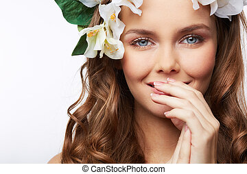 Secret smile - Close-up portrait of a gorgeous girl with ...