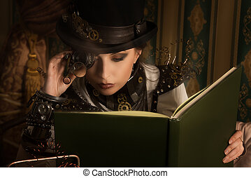 secret society - Portrait of a beautiful steampunk woman...