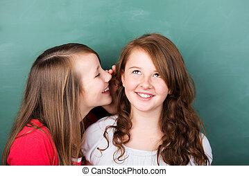 Secret - Portrait of female student telling a secret to her...