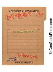 secret supérieur, confidentiel, fichier