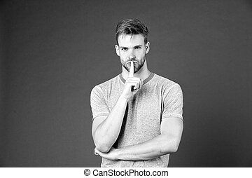 Secret tips achieve for great result. Fitness consultant secret training advice. Personal coach great sport result. Sportsman mysterious face has advice for you. Man muscular coach silence gesture