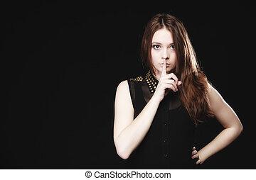 Secret woman. Girl showing hand silence sign - Secret woman...