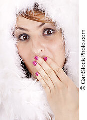 secret woman - muted young woman in white feather close...