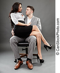 secretaresse, baas, schoot, zittende