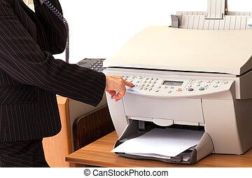 secretaresse, gebruik, printer