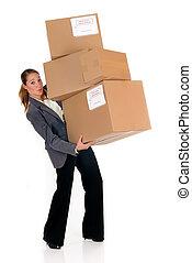 secretaresse, post, verpakken