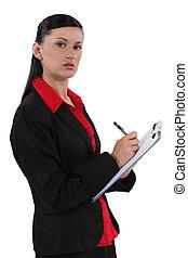 secretaresse, schrijvende , op, klembord