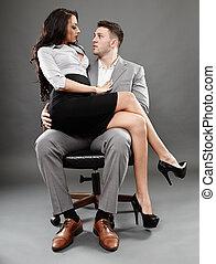 secretaresse, zittende , op, de baas, schoot