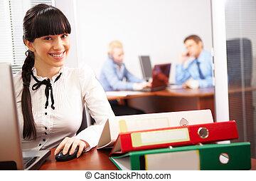 secretario, en el trabajo