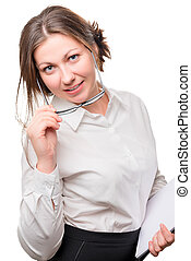 secretary 30 years old posing with glasses on a white background