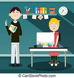 Secretary and Man with Book in Office - Vector Flat Design Cartoon