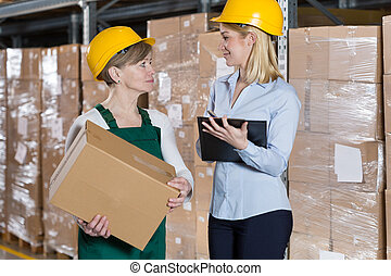 Secretary and physical female worker