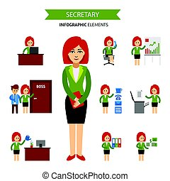 Secretary at work infographic elements. Business woman working in the office, a presentation, talking on the phone, meet with the staff, working at computer, receives a salary