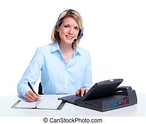 Secretary business woman. Call center.