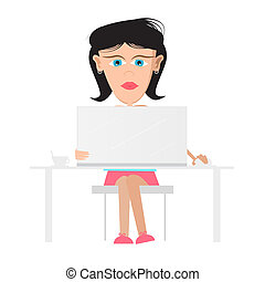 Secretary, Business Woman Sitting in Office Working on Computer