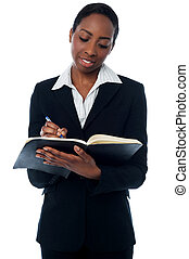 Secretary confirming appointments - Female secretary ...