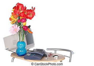 Secretary day - Empty desk with computer and flowers in...