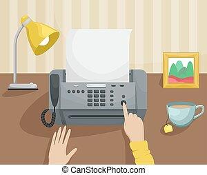 secretary., fax, button., vetorial, local trabalho, apertando, menina, illustration., paperwork