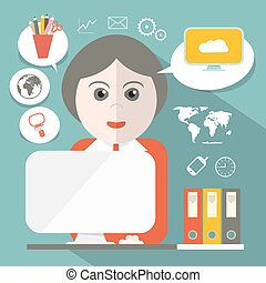 Secretary Flat Design Vector Illustration