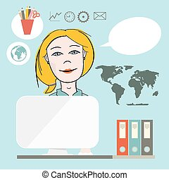 Secretary Flat Design Vector Illustration on Blue Background