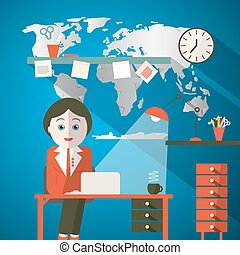 Secretary in Office or Presenter in Studio with World Map