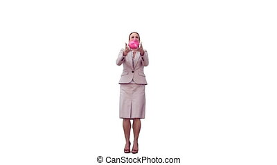 Secretary in slow motion holding a piggy bank