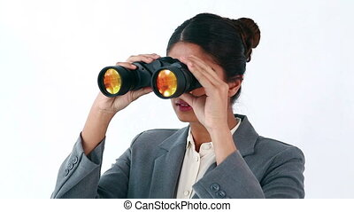Secretary looking through binoculars (Remove)