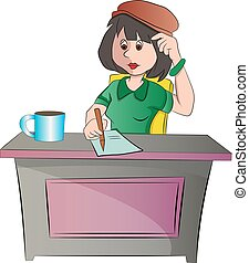 Secretary or woman Sitting at a Desk, illustration - ...