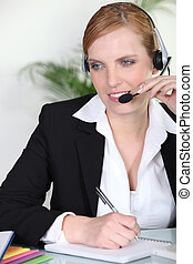 Secretary taking a call