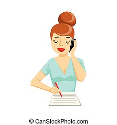 Secretary Taking Notes From Smartphone, Part Of People Speaking On The Mobile Phone Series. Cartoon Character Talking To The Cell Phone Portrait Flat Illustration.