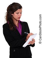 secretary taking notes